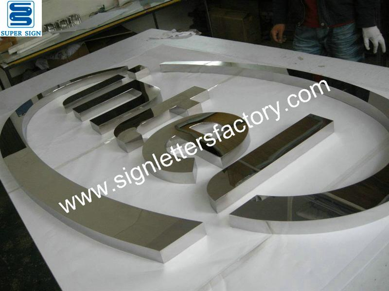 Fabricated polished mirror stainless steel sign
