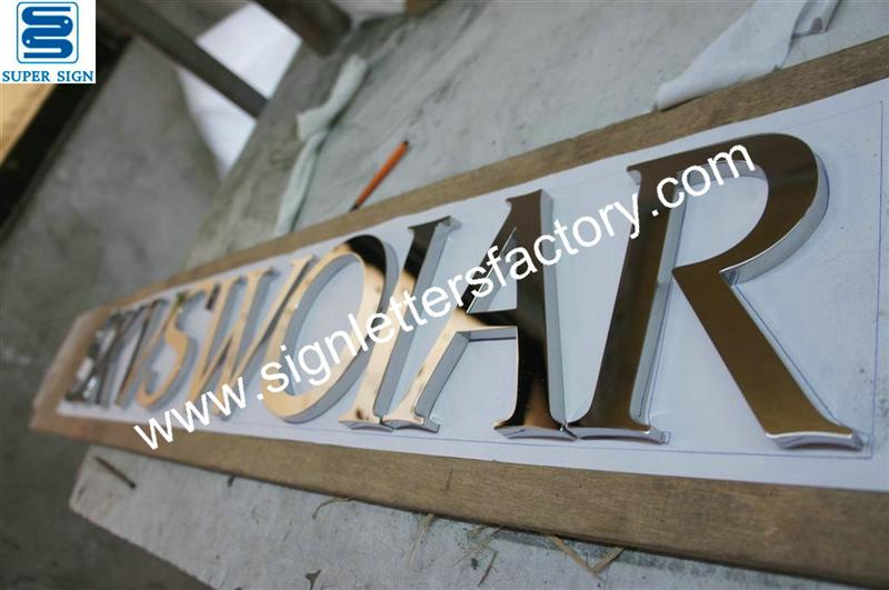 fabricated polished mirror stainless steel letters sign