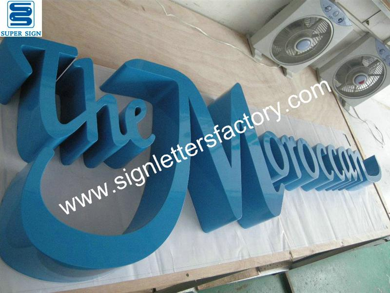 fabricated painted stainless steel sign letters