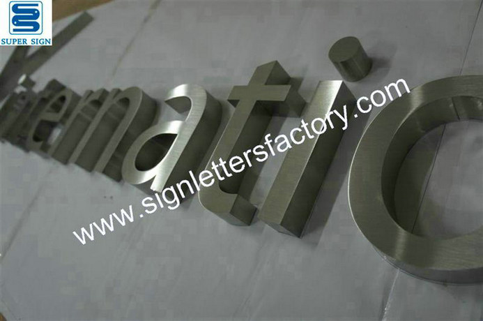 brushed stainless steel sign letter 13