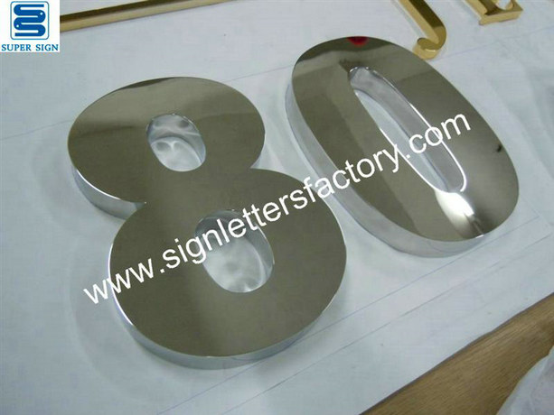 polished stainless steel sign numbers 02