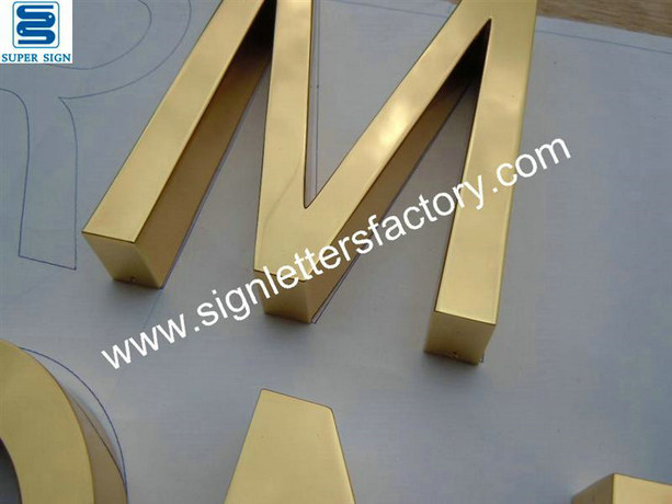 polished brass letter sign 09