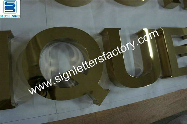built-up polished brass sign letter 15