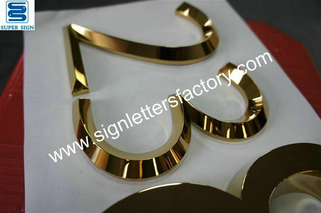 3D golden polished stainless steel letters 03